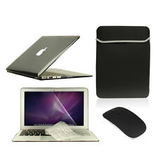 """5 in1 Crystal BLACK Case for Macbook Air 11"""" + Key Cover + LCD Screen+ Bag+Mouse"""