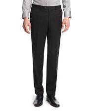 $325 BAR III men SOLID BLACK FRONT FLAT SLIM-FIT WOOL SUIT DRESS PANTS 34 W 32 L