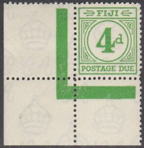 FIJI 1940 Postage Due 4d MNH from corner of the sheet.......................P889