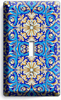 BLUE ITALIAN HAND PAINTED TILE LOOK LIGHT SINGLE SWITCH WALL PLATE KITCHEN DECOR