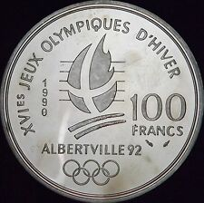 1990 Proof Speed Skaters MS France Silver 100 Francs - KM# 980 - Free Shipping