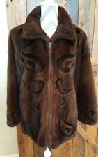 ZANDRA RHODES womens Mink Fur Sz L rare unique zip lined Coat designer Jacket