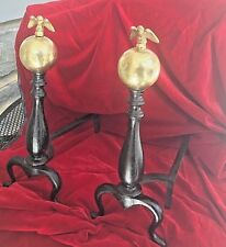 Antique Andirons Brass Ball American Eagle & Black Cast Iron for Fireplace