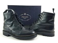 PRADA Men's Black Leather Wingtip Combat Boots Sz US 7.5 Style #2T27472 $995