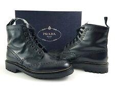 PRADA Men's Black Leather Wingtip Combat Boots Sz US 7.5 Style #2T27472 $995