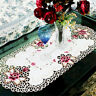 Vintage Embroidered Lace Rose Tablecloth Table Runner Doily Cover Satin Fabric