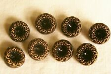 8 vintage black glass buttons (unused) with  gold lustre to rim.13 mm. diam.