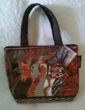 LAUREL BURCH MORROCCAN MARES small canvas handbag brown, orange, white NEW w/tag