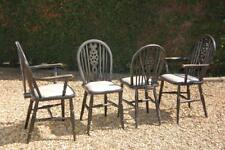 Vintage Set Of Four Wheelback Dining Chairs 2 Carvers 2 Chairs Black / Ebonized