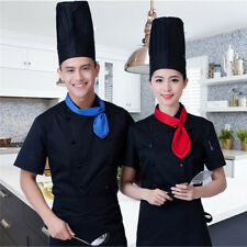 Mens Womens Traditional Chef Jacket Coat Short Sleeve Work Wear Cook Uniforms