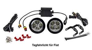 LED Tagfahrlicht 8 SMD rund Ø70-90mm E-Prüfzeichen 6000K E4 für Fiat TFL2