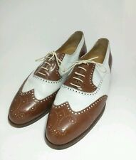 Bespoke COLE HAAN Wingtip Brouge Brown White Leather Oxfords Made Italy 10.5 D