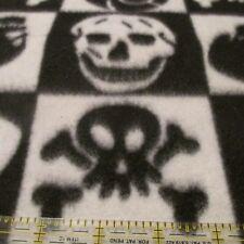 Fleece fabric Black & White blocks SKULL print BTHY half yard cut