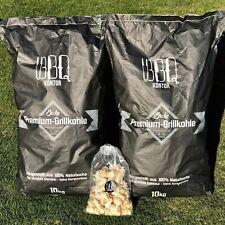 20kg (2x10kg) BBQKontor Premium Buchenholzkohle Grillkohle inklusive 20 Anzünder