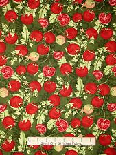 Italian Food Fabric - Tomato Vine Ripe Kitchen Green Wilmington #33769 - Yard