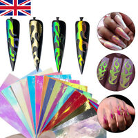 Nail Art Hollow Stickers DIY Flame Reflections Tape Adhesive Foils 16PCS New