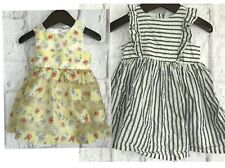 2 x H&M Baby Girls Party Dresses Age 6-9 months Blue Stripe Yellow Floral Cute
