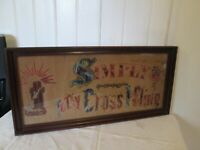 Antique Religious Wool Embroidery Punched Paper Motto Sampler Wood  Frame