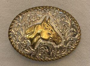 Crumrine Western Belt Buckle Horse Silver/Gold