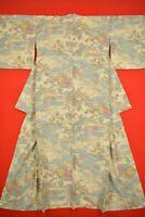 Vintage Japanese Silk Antique BORO KIMONO Kusakizome KOMON Dyed/YH65/1065