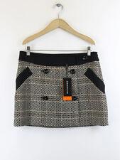 BNWT Karen Millen falda para mujer Tweed Marrón Cuadros declaración SM032 Talla 12