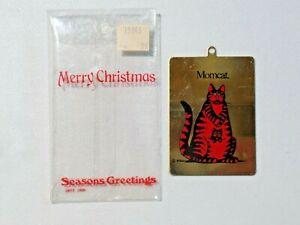 Vintage Kilban Christmas Ornament Thin Metal  MOMCAT Cat w/ Kangaroo Pouch