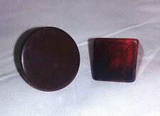 2 Chunky Plastic Rings Size 6 1/2 Brown Circle & Square Reddish Swirl