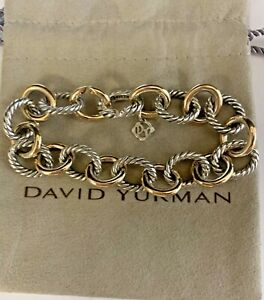 "david yurman 12mm oval large link bracelet 925 and 750 8"""