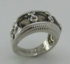Silver Anthony Nak Atelier 925 Sterling Smoky Quartz  Chain band Size 6.5 Ring