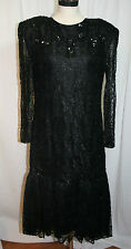 Womens Formal Evening Wear ANDRIES Camp Hill PA Black Beaded Dress VGC Lace