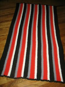 """Hand Crocheted Afghan 36"""" X 64"""" Red, Black, White, Gray Univ. GA  College Colors"""