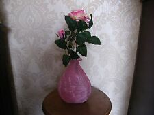 Artificial Silk Pink Roses And Glass Pink - White  Jarron Vase.