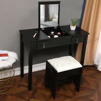 Vanity Makeup Dressing Table Set W/Stool Flip Top Mirror 2 Drawer Writing Desk