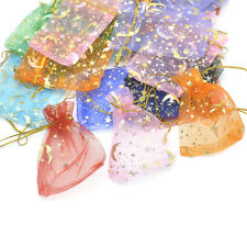 100 Star Moon Organza Gift Bags Drawstring Party Wedding Jewelry Pouches Lot AU