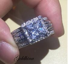 14K White Real Gold3CT Diamond Engagement Ring Wedding Trio Set For His & Her