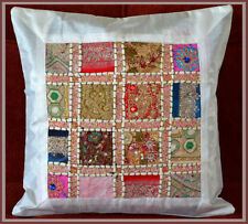 Hand Crafted Embroidered Antique Patch Work White Silk Pillow Cushion Cover