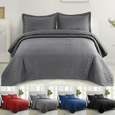 3pcs Bedspread Quilt Set Embossed Reversible Bedding Cover Coverlet + Pillowcase