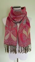 Pashmina pink paisley fringed scarf wrap