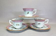 ADAMS CHINA .. CALYX WARE IRONSTONE  .. LOWESTOFT .. SET OF  3 CUPS AND SAUCERS