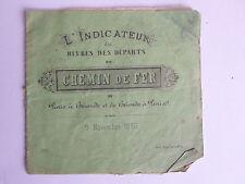 Indicateur CHEMIN de FER heures des départs PARIS BRIOUDE Novembre 1860
