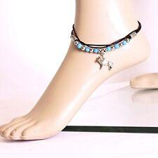 Fußkette Fußkettchen Leder Türkis Silberfarben Löwen Anhänger 25 cm + 5cm Verl.