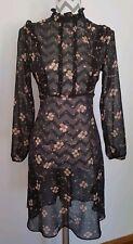 M&s Collection Petite Vintage Noir Robe à fleurs taille 10 steampunk victoriennes