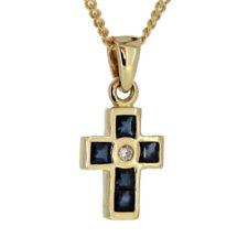 Kinder Taufe Kommunion Firmung Kreuz 6 Safir 1 Diamant 0,01 ct Echt Gold 585