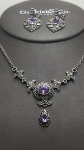 Sterling Silver 925 Marcssite & Amethyst Necklace & Earring Set