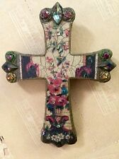 Wooden Michal Negrin Religious Cross Roses Crystals Wall Art French
