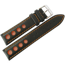 20mm EULIT German Black Orange GT Racing Rallye Rally Leather Watch Band Strap