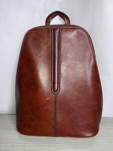 Chenson-90's Vintage, Brown, Leather, Dbl Zip, 3 Compartment, Backpack