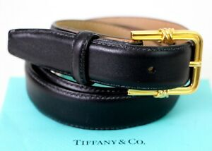 AUTH TIFFANY 1992 SOLID 18K 750 22g GOLD BUCKLE BLACK LEATHER SKINNY BELT 28 USA