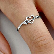 .925 Sterling Silver Ring size 10 Arrow Heart Midi Chevron Thumb Ladies New p89