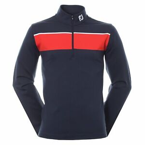 FootJoy Men's Golf Jersey Chest Stripe Chill Out Pullover Navy/Red/White